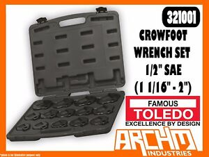 """STRAIGHT JAW SQUARE DRIVE TOLEDO 301466 CROWFOOT WRENCH 1//2/"""" METRIC 27MM"""