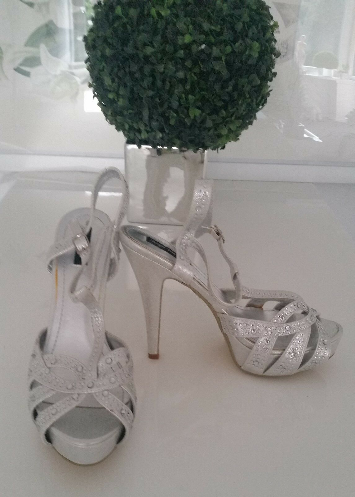 Sexy Sandaletten - High Heels - Pumps / NEU Silber / Gr. 41 NEU / af349b