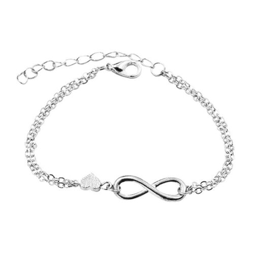 Gold Silver Lucky Number 8 Designed Love Heart Chain Bracelet Bangle Jewelry Ea