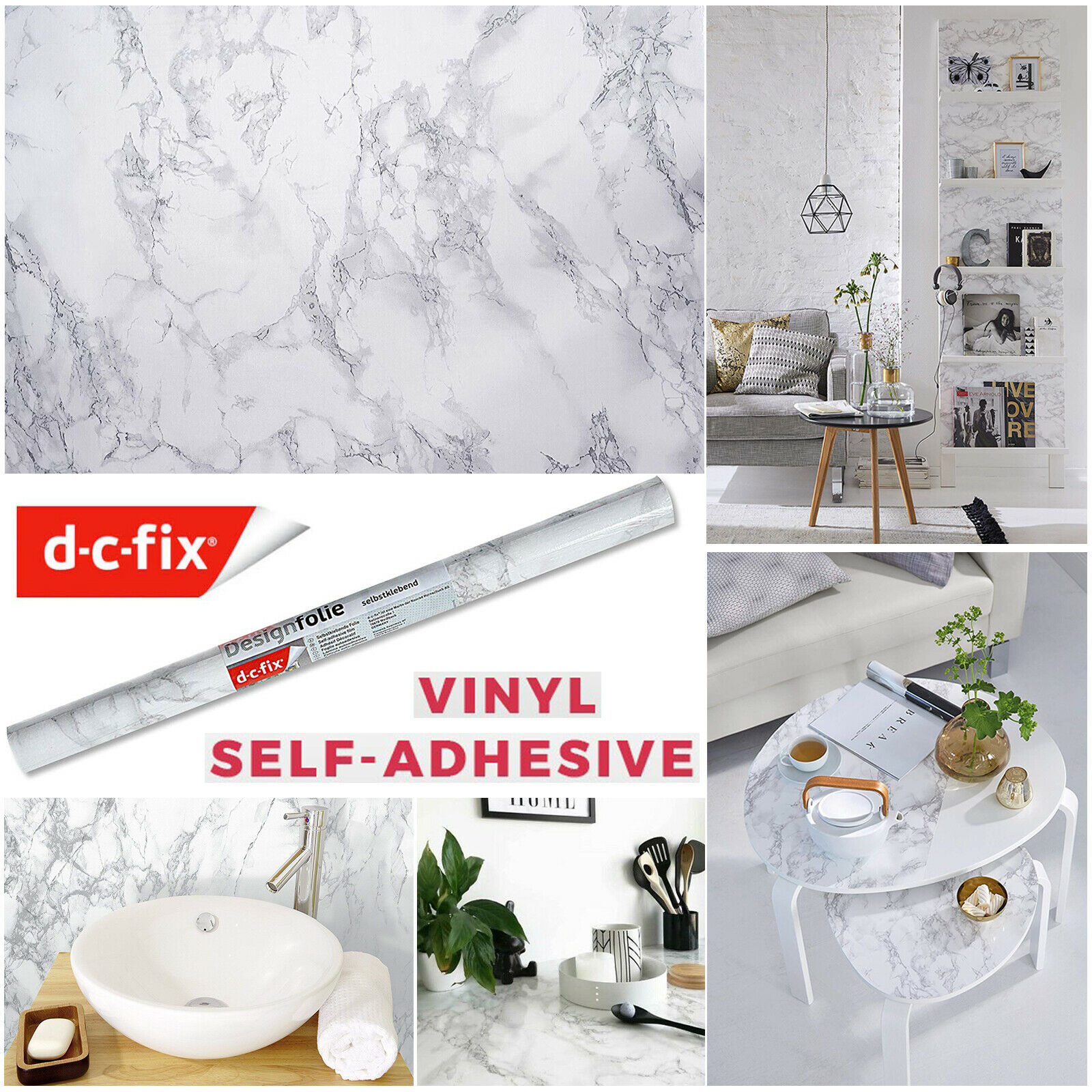 Kitchen Worktop Covering Vinyl Self Adhesive Marble Sticky Back Plastic 200x67.5