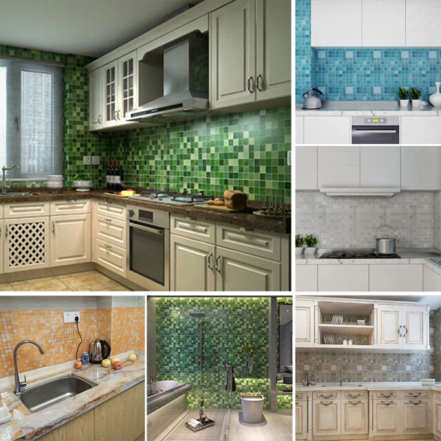 45x200cm Mosaic Aluminum Foil Self-adhensive Anti Oil Wall Paper Sticker Kitchen
