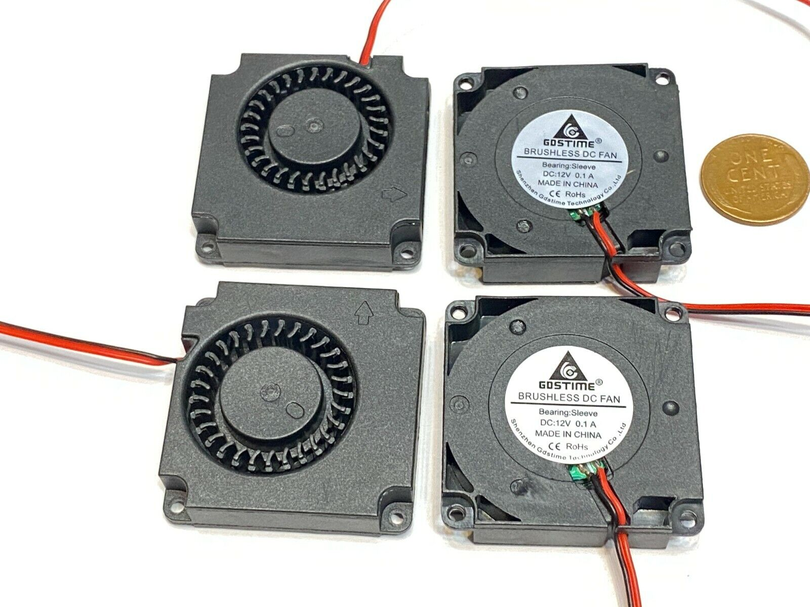 4 Pieces 12V 2Pin DC 40mm x 10mm 4010 Blower Radial Cooling 4cm Fan C4