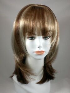Mid-length-Blond-Straight-Hair-Wig-Wigs-Part-Skin-Top