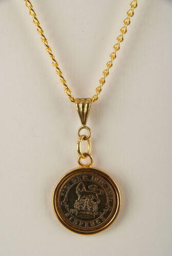 24ct Gold Plated Lucky Sixpence Pendant 1921-1946 in gift box