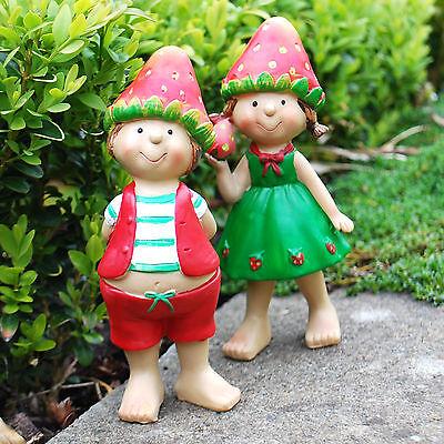 Jacob & Jill the Standing Cute Strawberry Pixie Twins Garden Ornaments