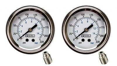 """Viair 2 Pack  2"""" White Face 220 PSI Max Single Needle Gauge W/Fittings Air Ride"""