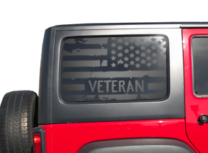 J3G Distressed USA American Flag Decal Fits JLU JKU 4-Door Jeep Wrangler
