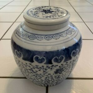 VINTAGE-CHINESE-HAND-PAINTED-PORCELAIN-GINGER-JAR-BLUE-AND-WHITE-8