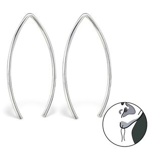 Image Is Loading 925 Silver 25mm Wire Pull Through Ear Thread