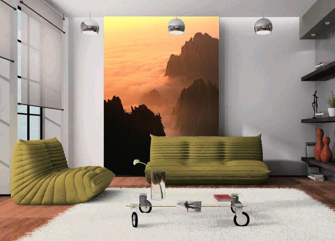 Papel Papel Papel Pintado Mural De Vellón Niebla Montañas Pico 32 Paisaje Fondo De Pantalla 03105d