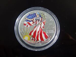 1999 Painted American Eagle Walking Liberty Silver Dollar