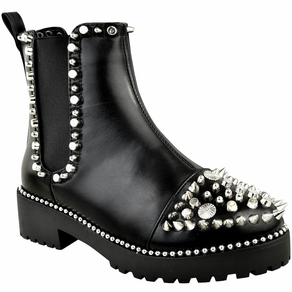 New Womens Chelsea Spike Spike Spike Chunky Punk Goth Biker Studded Stud Ankle Boots Pull On d60e73