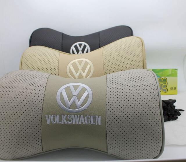 2pcs Car Seat cowhide Protect Neck Rest Belt Headrest Pads Black Beige Gray for