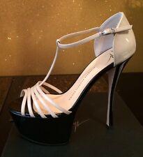 GIUSEPPE ZANOTTI Sasha Beige Black  T Strap Platform Sandals 39, BNWB