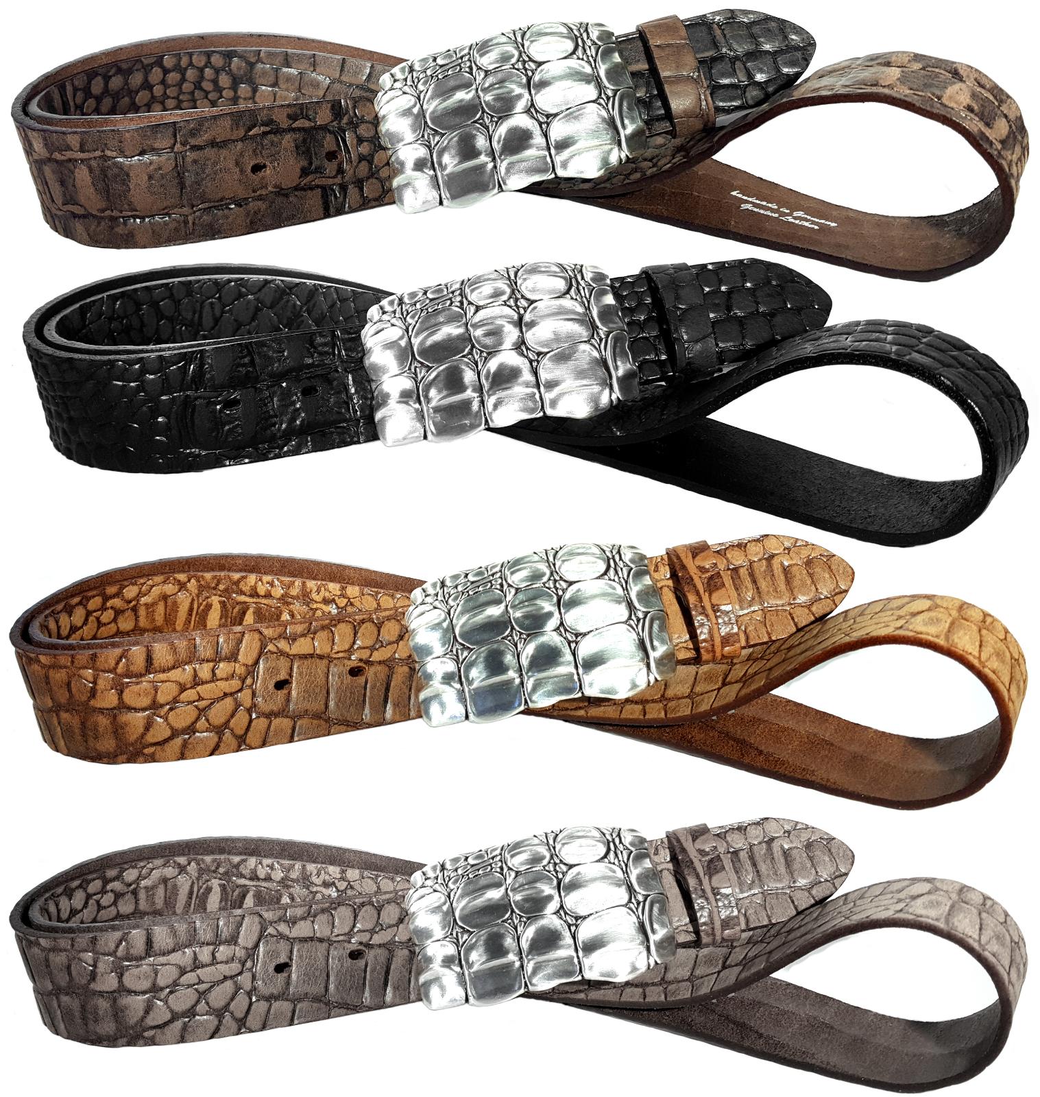 Ledergürtel + Buckle Kroko Optik Reptilprägung Leder Gürtel braun schwarz 4 cm