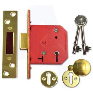 "Union 2101 5 Lever Mortice Door Deadlock 64mm//2.5/"" Polished  L Brass Keyed Alike"