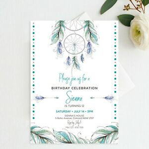 image regarding Printable Feathers called Data with regards to Printable Dreamcatcher Invitation Birthday Mint Boho Feathers Tribal Occasion