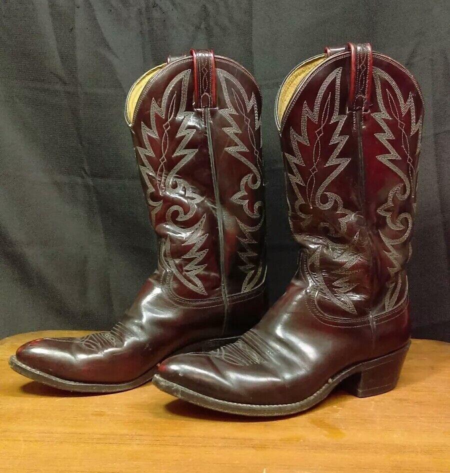 Vintage Dan Post Men's Western Cowboy Boots Size 8.5 Excellent