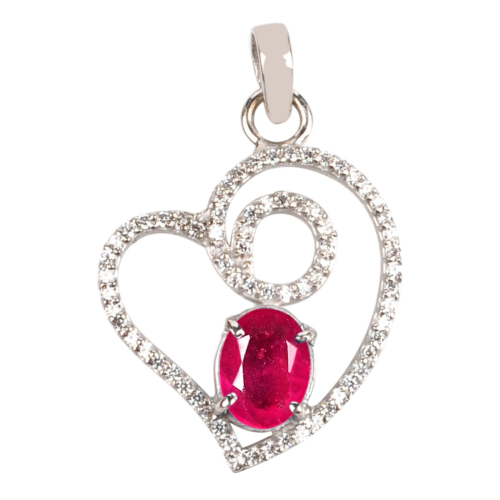 Real 14KT White gold 1.85 Carat Natural Red Ruby EGL Certified Diamond Pendant