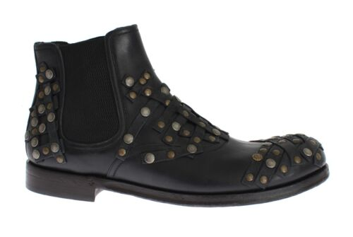 Eu42 Nuovo Scarpe us9 Stivali 5 Tempestato Dolce Oro Gabbana 5 Nero Pelle 6gO86q
