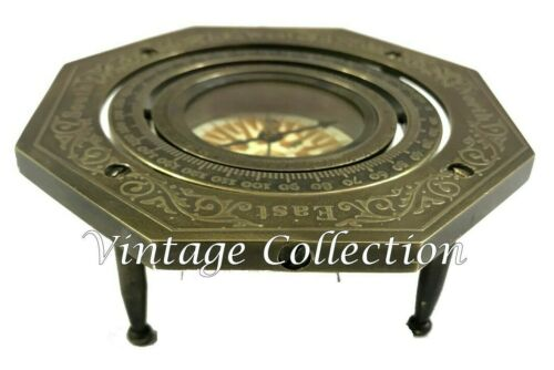 Hexagonal Antique Brass Gimbled Compass Nautical Maritime Table Decor Compass