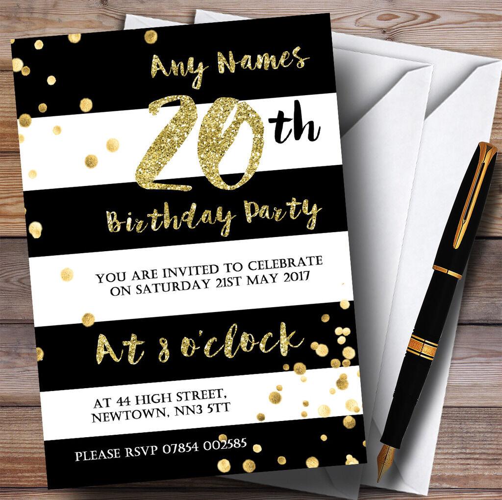 Noir & blanc rayée d'anniversaire or confettis 20th personnalisé fête d'anniversaire rayée invitations 51586c