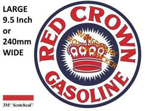 VINTAGE RED CROWN GASOLINE DECAL STICKER LABEL 9.5 INCH DIA 240 MM HOT ROD