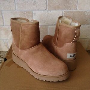 11698643cd0 Details about UGG KRISTIN CLASSIC SLIM CHESTNUT SUEDE WEDGE ANKLE BOOTS  SIZE US 6.5 WOMENS NIB