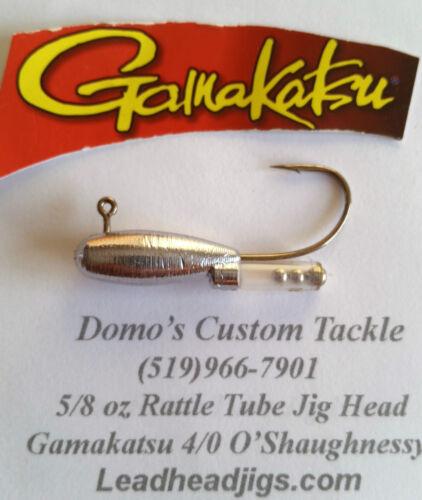 5 pcs 5//8 oz Rattle Tube Jig Head 90° Gamakatsu 4//0 O/'Shaughnessy Hook Fishing
