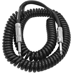 20 foot coiled guitar or instrument cable 1 4 inch ts straight connectors 847861049201 ebay. Black Bedroom Furniture Sets. Home Design Ideas