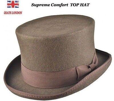Mens Top Hat Brown Wool Handmade High Quality Wedding Ascot Hat iHATS London UK