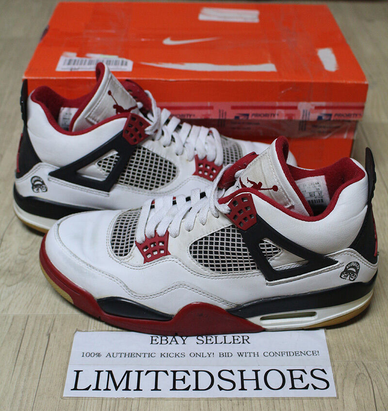 NIKE AIR JORDAN 4 IV RETRO WHITE VARSITY RED 308497-162 US 9 SIZE