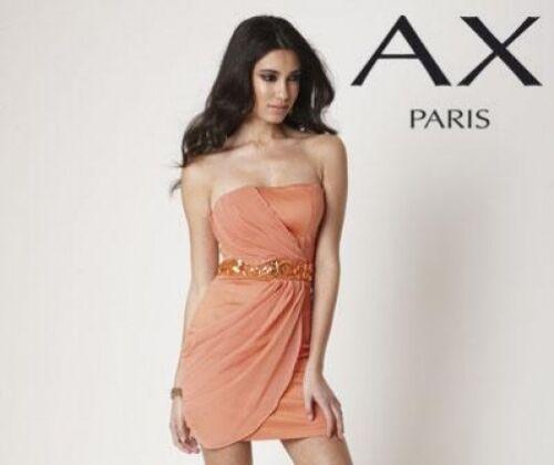 BNWT nuevas señoras Ax Paris Strapless Naranja Vestido De Fiesta 8 10 12 14 16 18 Bodycon
