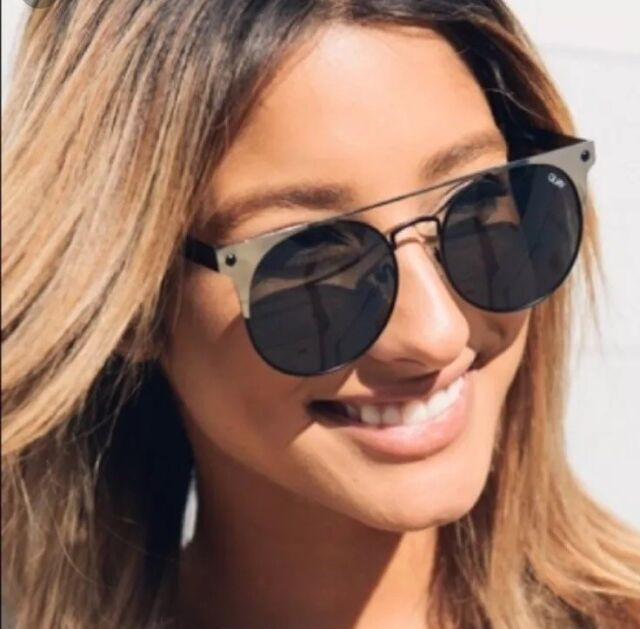 0bc2f4e468 Quay Australia Womens Black  the in Crowd  Oversized Round Sunglasses for  sale online