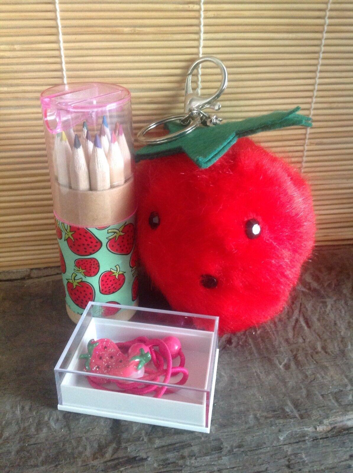 Retro Strawberry 🍓Large Fluffy Keyring +Hairbands +Pencil Tube Set 3pc Gift Set
