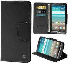 BLACK INFOLIO WALLET CREDIT CARD ID CASH CASE COVER STAND FOR LG G3 PHONE