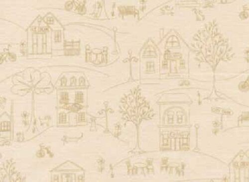 Fat Quarter Around Town Shops Tan Cotton Quilting Fabric  Red Rooster