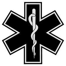 "Black Star of Life 2"" Die Cut Reflective Emergency Medical EMT Decal w/Border"