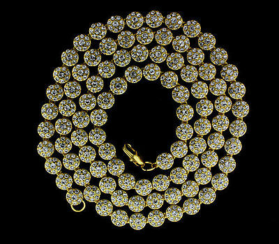 MENS 1 ROW ICED OUT HIP HOP 14K GOLD PLATED FLOWER CLUSTER CZ CHAIN NECKLACE