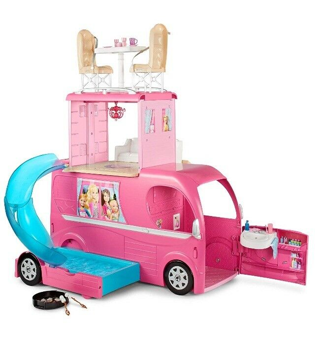 Barbie Pop Up Camper Van Vehículo transformar característica dúplex.  Nueva Y Sellada