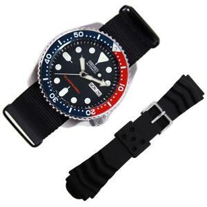 100% Original Seiko Automatic Dive Watch SKX009 SKX009K1 EXTRA Black Nylon Strap