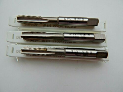 "TAPER NEW SECOND BOTTOMING SET OF 3 HAND TAPS 5//16/"" x 24 UNF"