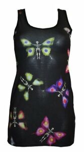 LADIES-BUTTERFLY-SKELETON-TATTOO-PRINT-LONG-VEST-TOP-SUMMER-DRESS-GOTH-PUNK-EMO