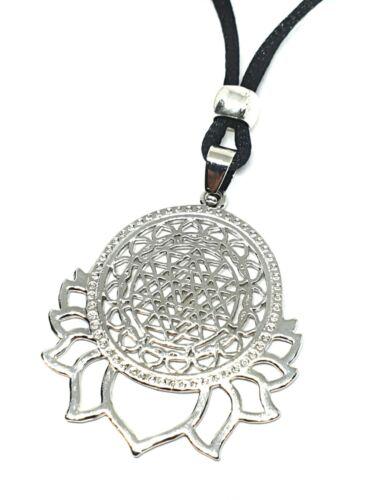 """Sri YANTRA Flor De La Vida Colgante Cadena Collar Joyería Lotus geométrica 18/"""""""