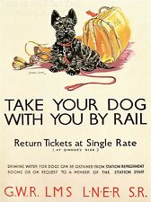 ART PRINT TRAVEL POLICY DOGS RAIL TRAIN SCOTTISH TERRIER SPORT BAG UK NOFL1348