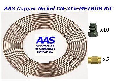 """AAS Copper Nickel Tubing CN-316 3/16"""" x 25' Brake Line with 15 Metric Fittings"""