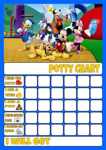 MICKEY MOUSE c POTTY//TOILET TRAINING REWARD CHART free stars /& pen