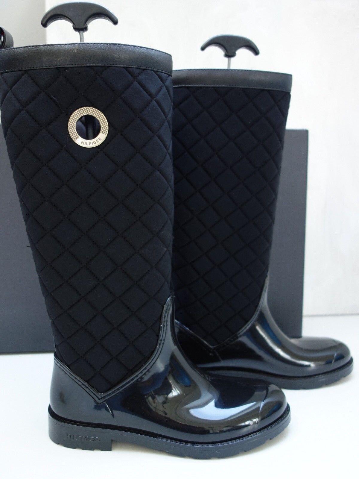 Moderna tommy hilfiger botas de goma negro nuevo