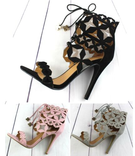 Womens High Heel Party Lace Up Sandal Occasion Ladies Shoe Size Pink Black Grey