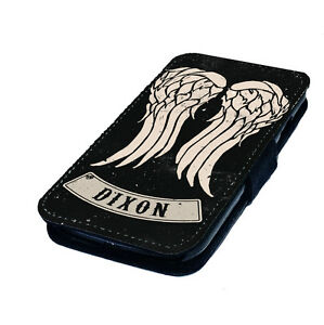 Dixon-Wings-Printed-Faux-Leather-Flip-Phone-Cover-Case-Walking-Dead-Inspired